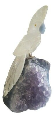 Hand-carved Brazilian STONE BIRD made from Clear Crystal and Amethyst