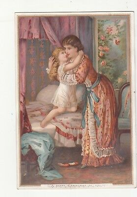 A Happy Christmas To You Mother Daughter Fannie Rochat Verse Vict Card c1880s