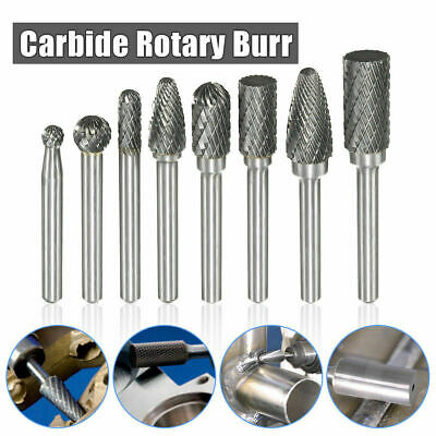 "8Pcs 1/4"" Shank Carbide Burr Rotary Drill Bits Tools Cutter Files Set 6mm"