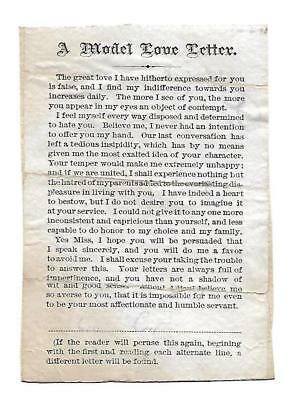A Model Love Letter Two Messages (Have to Read) Vict Card c1880s