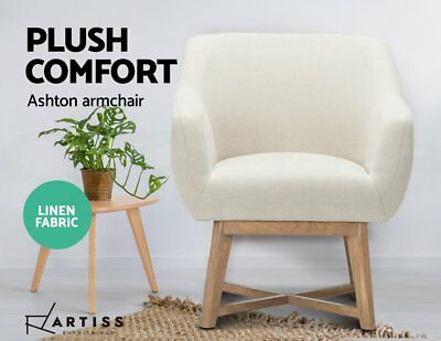 Artiss Aston Tub Chair Armchair Solid Lounge Single Sofa Accent Fabric Retro OZ