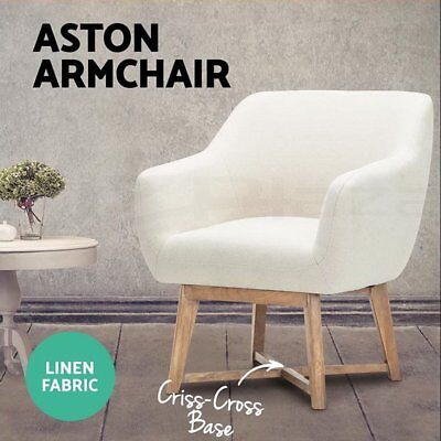 Artiss Aston Tub Chair Armchair Solid Lounge Single Sofa Accent Fabric Retro AU