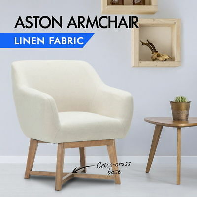 Artiss Aston Tub Accent Chair Armchair Single Sofa Vintage Lounge Fabric Retro Z