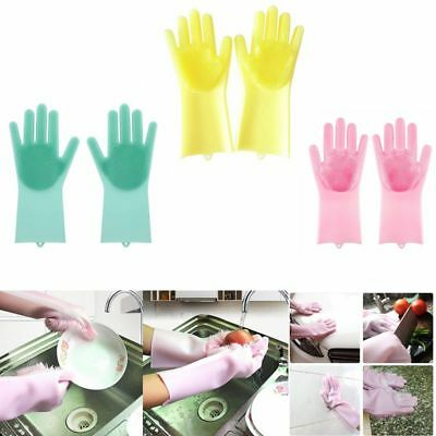 Silicone Rubber Dish Washing Gloves Soft Scrubber Cleaning Sponge Home Kitchen