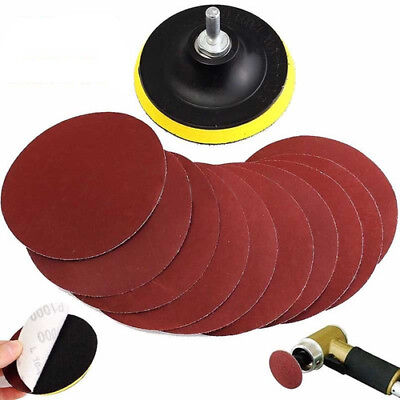 10x 4'' Hook & Loop 1000 Grit Sanding Disc + Backer Pad Drill Adapter Shank Set