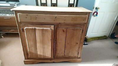 Antique Pine Cupboard, Sideboard With Drawer