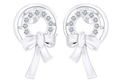 IGI Certified 0.14 Ct Natural Diamond Bow With Circle Stud Earrings 14k Gold