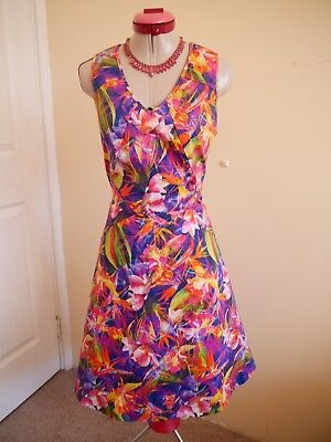 47b22827f047 RETRO 50s Pink Yellow Floral DRESS Size 8 Fit & Flare Orange Green Purple  Blue