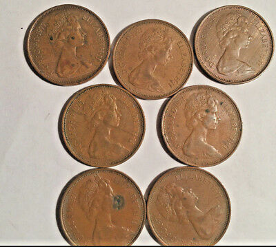 Lot of 7pcs 2 New Pence Bronze Coins From Great Britain 1971-1977