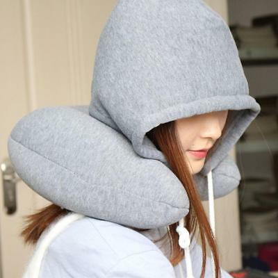 U-Shaped Travel Pillow Neck Support Head Rest Car Airplane Hooded Sleep Cushion