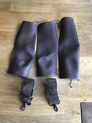 Brown Leather Bugaboo Cameleon 3 Bag Clips, handle & bumper bar Sew on cover set