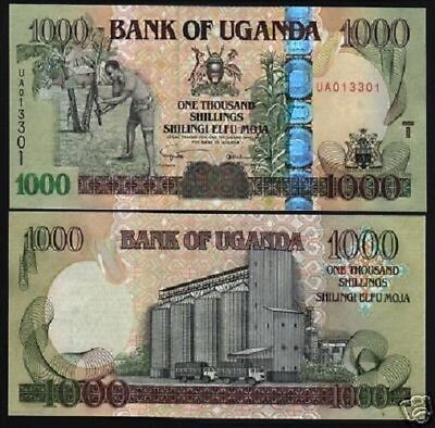 Uganda 1000 1,000 Shillings P43 2005 Bundle Horse Truck Unc 100 Pcs Lot Banknote