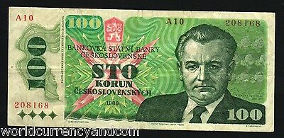 Czechoslovakia 100 Korun P97 1989 Gottwald Colorful Euro Money Bill Bank Note