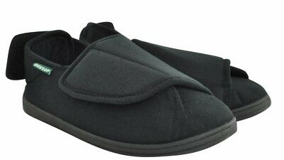 Mens Slippers - George Black - Wide Fittings  / Velcro Fastening - Size 6 to 12