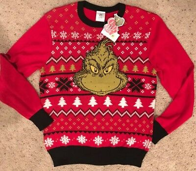 nwt m mens ugly sweater dr seuss how the grinch stole christmas holiday - How The Grinch Stole Christmas Sweater