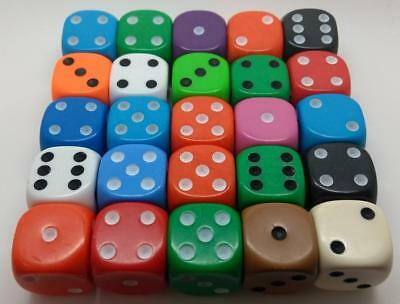 Standard SIX sided D6 spot 16mm dice Pack of 25 Random Mixed Opaque Colours