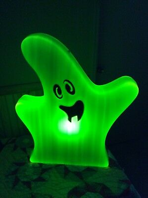 "New 28"" Flat Green Ghost LED Light Sensor Auto On And Off Halloween Blow Mold"