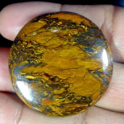 82.15cts NATURAL EXCLUSIVE MULTI DESIGNER GOLDEN TIGER EYE ROUND CAB AA GEMSTONE