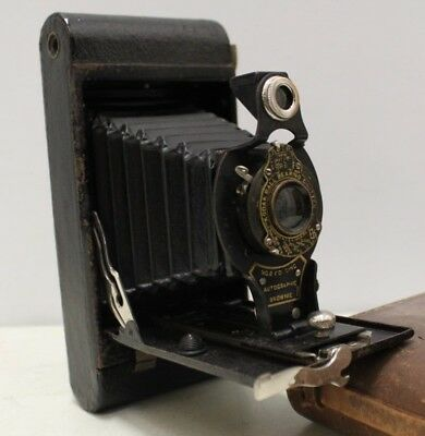 Vintage Folding Camera - Kodak No2 Folding Autographic Brownie with Leather Case