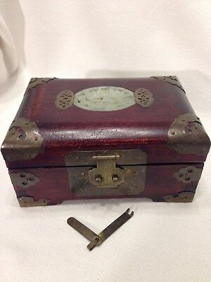 Chinese Rosewood And Jade Jewelry Box/Antique/Vintage