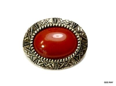 Victorian style Etruscan Egyptian Revival Cabochon Vintage Brooch Pin Sagaofluck