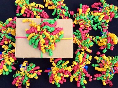 48 Christmas Parcel Bow Decorations Curl Swirls Stick-On. Gifts. Ribbon Job Lot