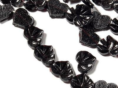 Lot (190) 8mm Czech antique vtg rare faceted black realistic leaf glass beads