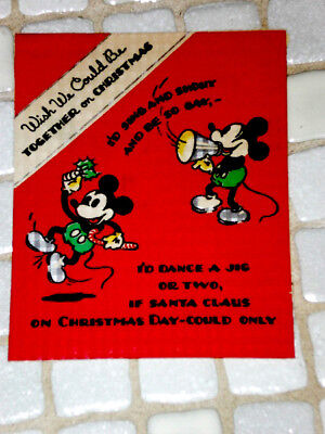 Mickey Mouse Minnie Rare Christmas Card Hallmark Disney Hall Bros 1936