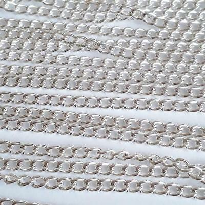 10M Silver Plated Curb Chain Open Link Necklace Findings 3x2.2mm B13656