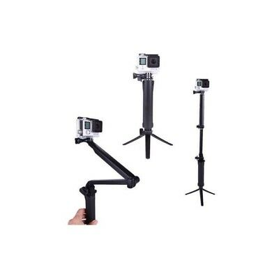 3-WAY FOLDABLE FLOATING GRIP TRIPOD SELFIE STICK W MINI TRIPOD for ACTION CAMERA