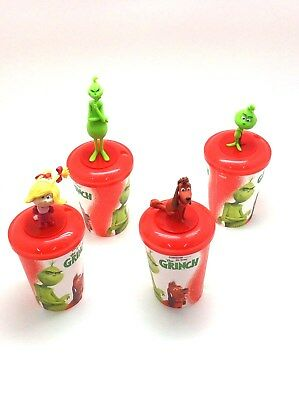 Brand New The Grinch 2018 Movie Theater Exclusive 12oz Cups with Lids & Toppers