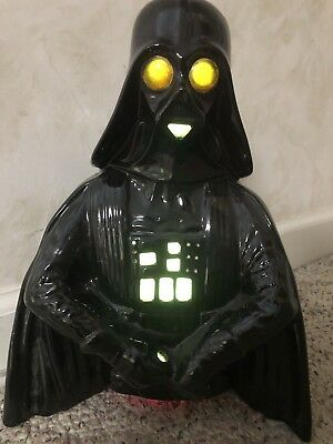 "Glossy Solid Black Star Wars DARTH VADER 12"" Accent Lamp Light Up Eyes"