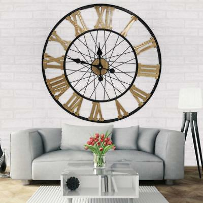 Large Metal Roman Numeral Wall Clock Black Home Indoor Outdoor Decor