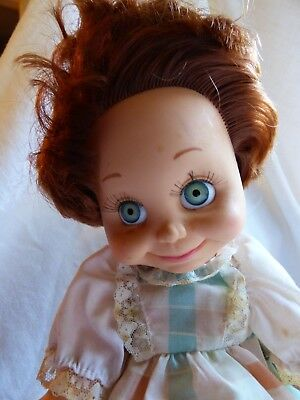 Vintage Galoob Baby Face Doll  #9 red/brown hair green eyes 1990
