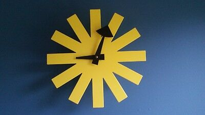 Vintage Yellow Mid Century Modern George Nelson Asterisk Clock Howard Miller MCM