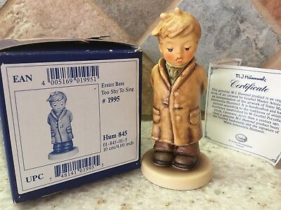 "Vintage~MJ HUMMEL~GOEBEL~2002~#845~TOO SHY TO SING~4"" TALL~WITH CERT & BOX"