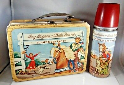 Vintage Early Roy Rogers Dale Evans Lunchbox Holtemp Thermos Double R Bar Ranch
