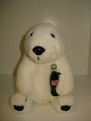 Vintage 1993 Coca Cola Soda Polar Bear Stuffed Animal Plush Toy 8""