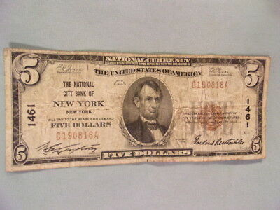 1929 $5 NATIONAL CURRENCY NOTE, Nat. City Bank of NY, Brown Seal