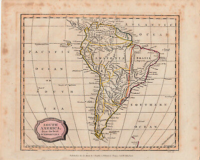 c1806 map of South America by James Barlow