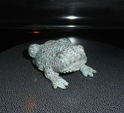 """Antique Vintage Bronze Frog Statue, 2.5""""long X 2"""" Wide X 1"""" High, Paperweight"""