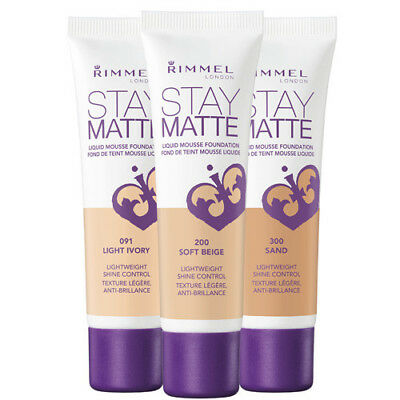 RIMMEL Stay Matte Mousse Foundation 30ml - CHOOSE SHADE - NEW Sealed