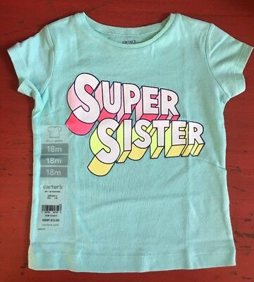 "Carter's Baby Girls ""Super Sister"" T-shirt Top Size 18 Months NEW"