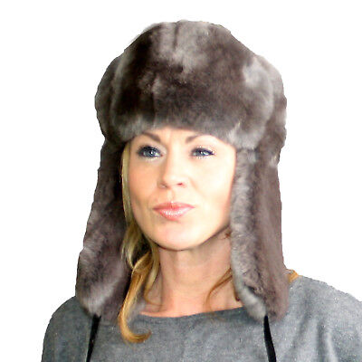 9007263ac9bfd Glacier Wear Brown Gray Rex Rabbit Fur Russian Trooper Hat hts1044