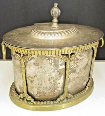 Vintage 2 Piece Embellished Metal Tobacco Humidor Brass/Silver Plate Smokers