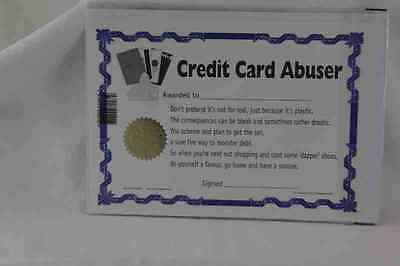 Novelty Credit Card Abuser Certificate