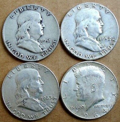 Lot: 4 Silver Half Dollars: 1951-D, 1952, '63-D & 1964, 90% Silver ~ Free Ship
