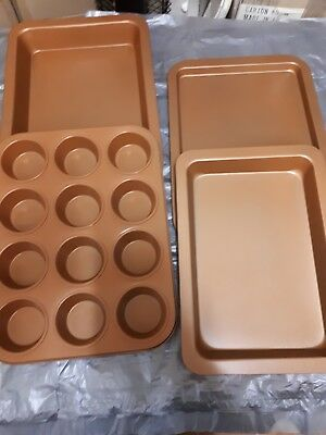 Brand New 4 Piece Copper Bakeware Set,incl 12 Cup Pan, 2 Roasters & Sheet