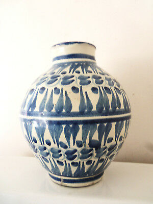 Fabulous Old Mid Eastern Tin Glazed Blue And White Pottery Jar