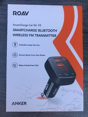 NEW Roav Anker SmartCharge Car Kit F2 bluetooth Wireless In-Car FM Transmitter